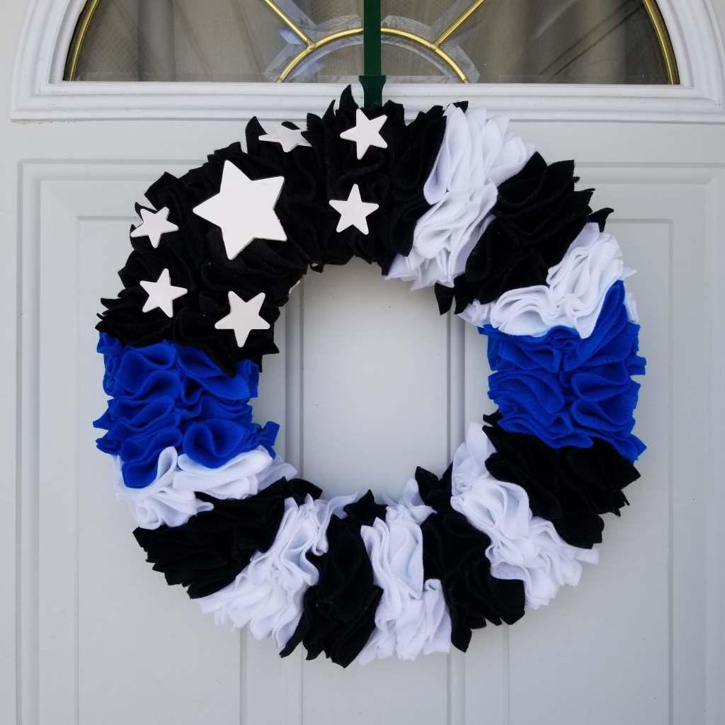 Blue line flag wreath